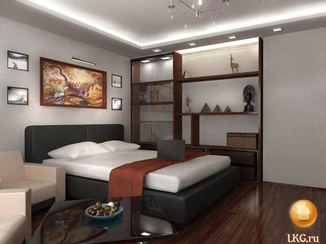 дизайн стен обоями спальни.